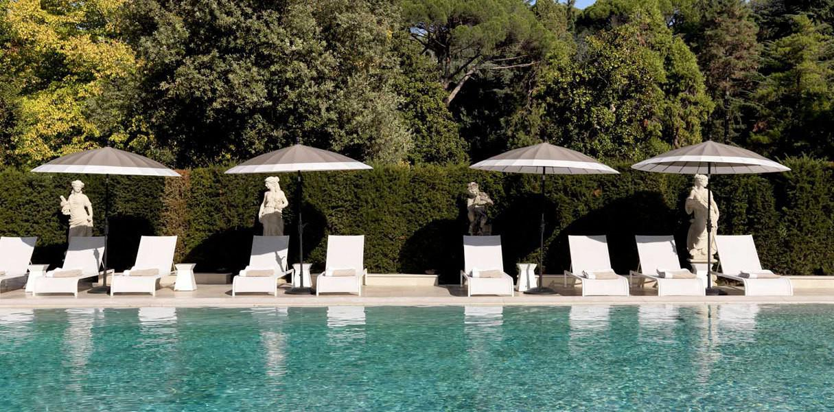 Latona loungers by the pool at Villa Cora