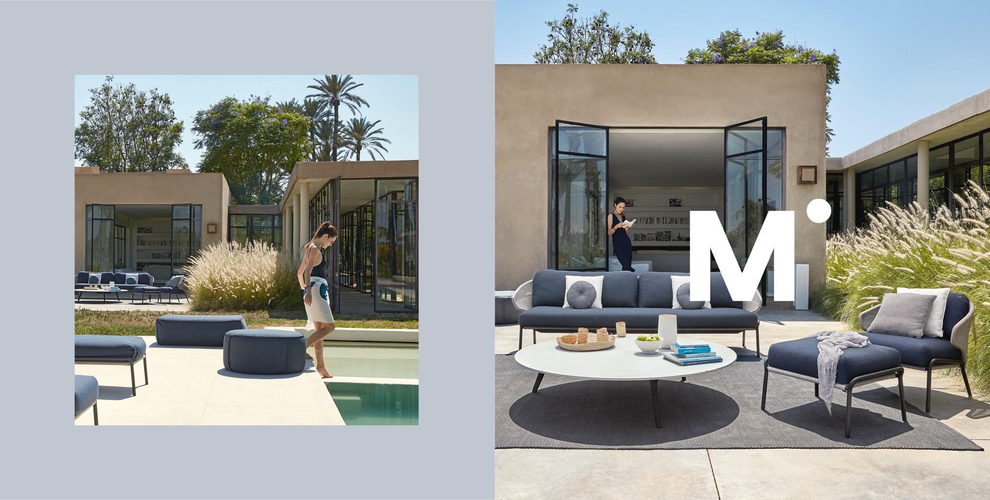 Radius sofa en ligbed met Mood koffietafel bij het zwembad