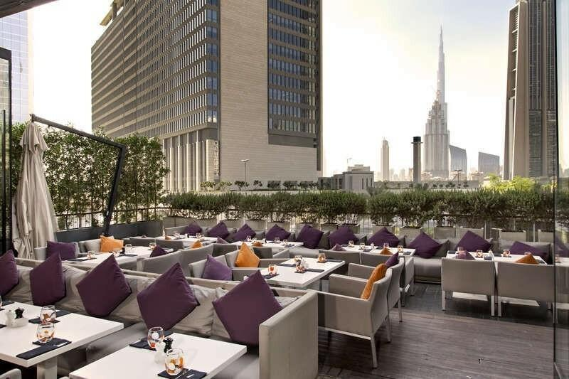 Rooftop patio with outdoor furniture