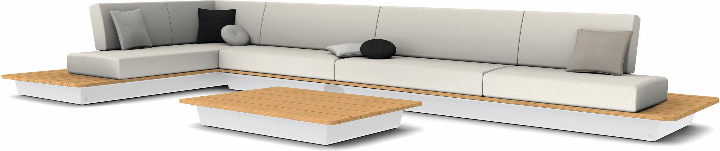 Air concept 2 - blanc - plateau bois d'iroko