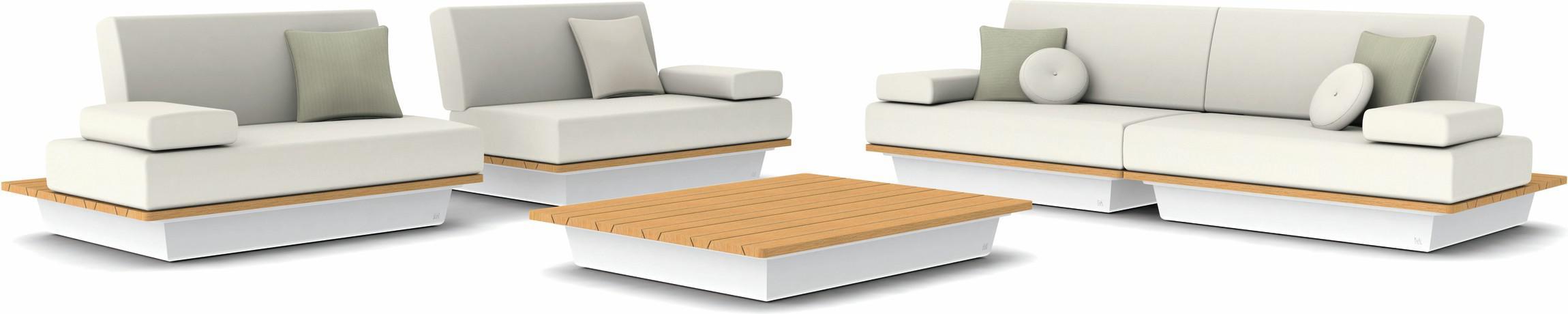 Air concept 3 - white - wood top iroko