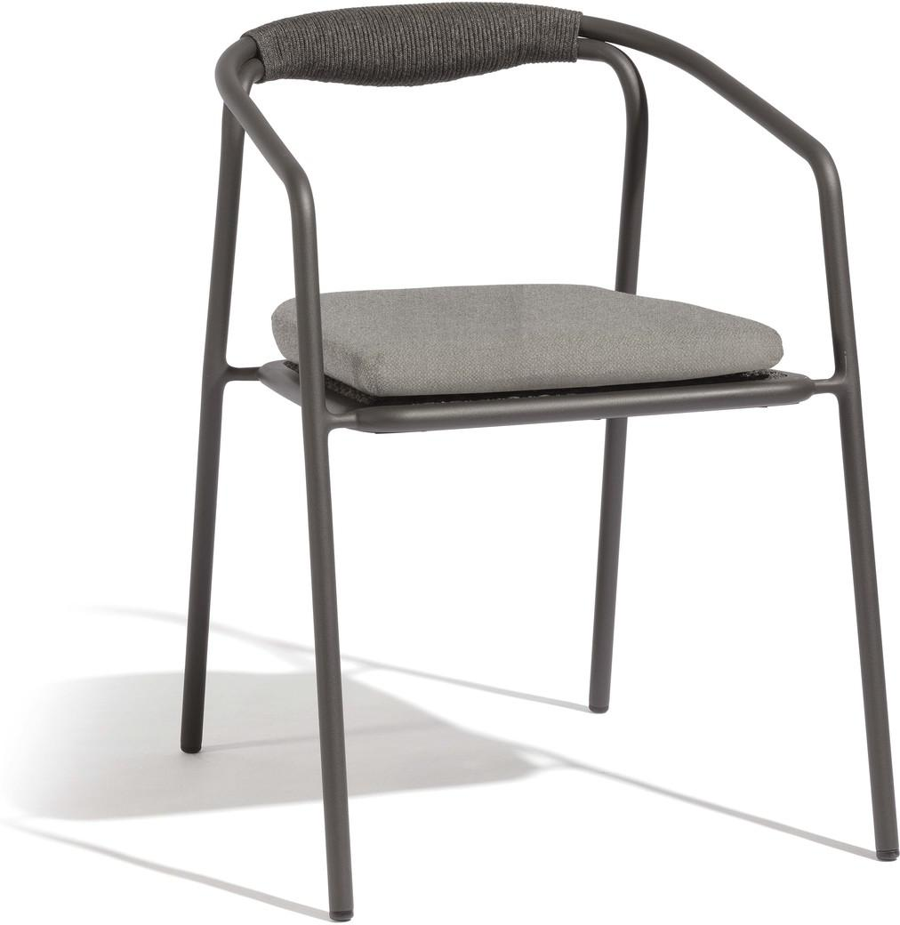 Duo chair - flint - rope 4,5mm pepper + teak