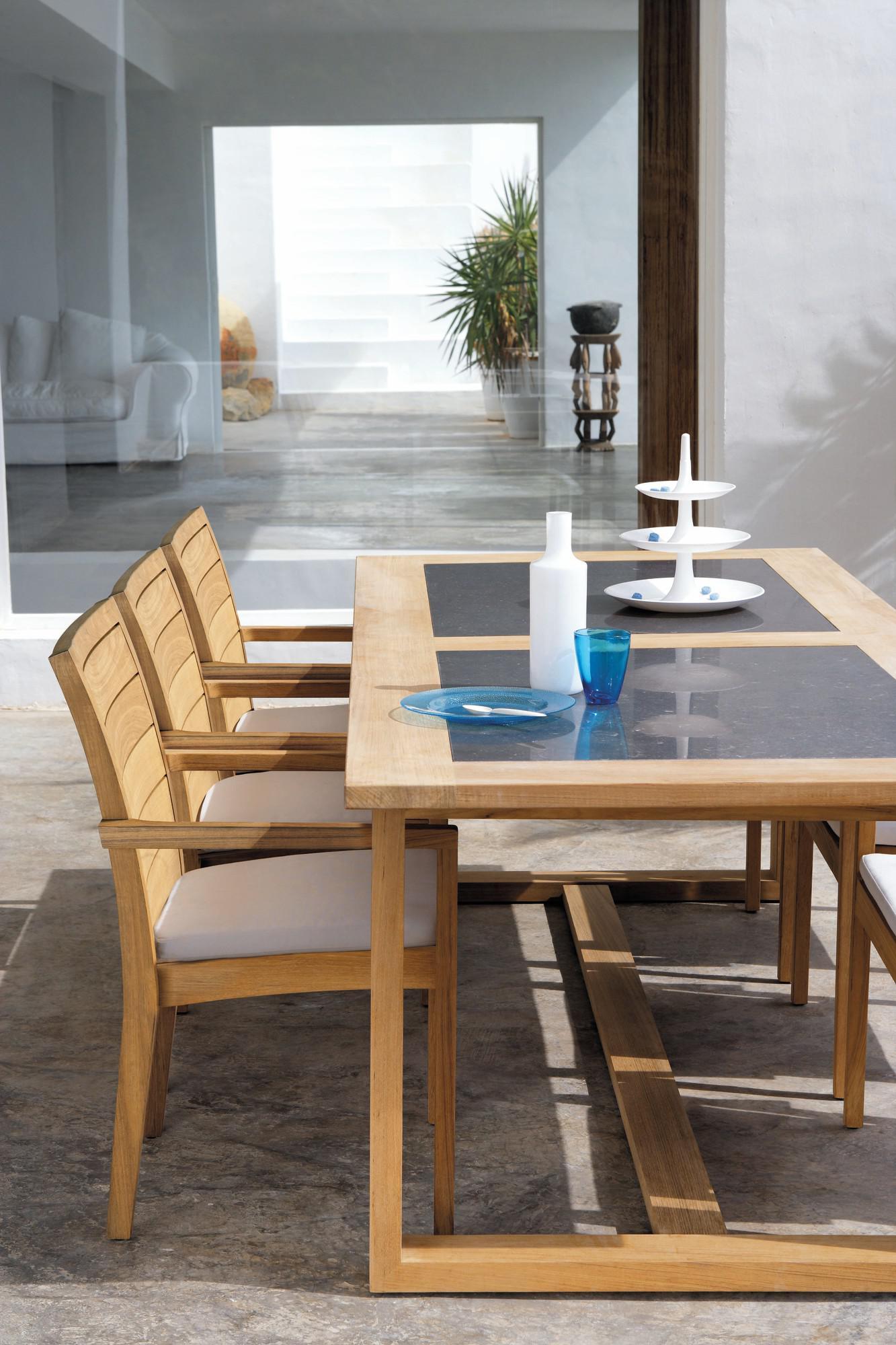 Tavolo da pranzo per esterni Siena - teak - listelli teak ...