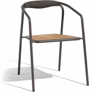 Duo chair - lava - rope 4,5mm anthracite + teak