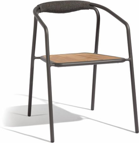chair - lava - rope 4,5mm anthracite + teak