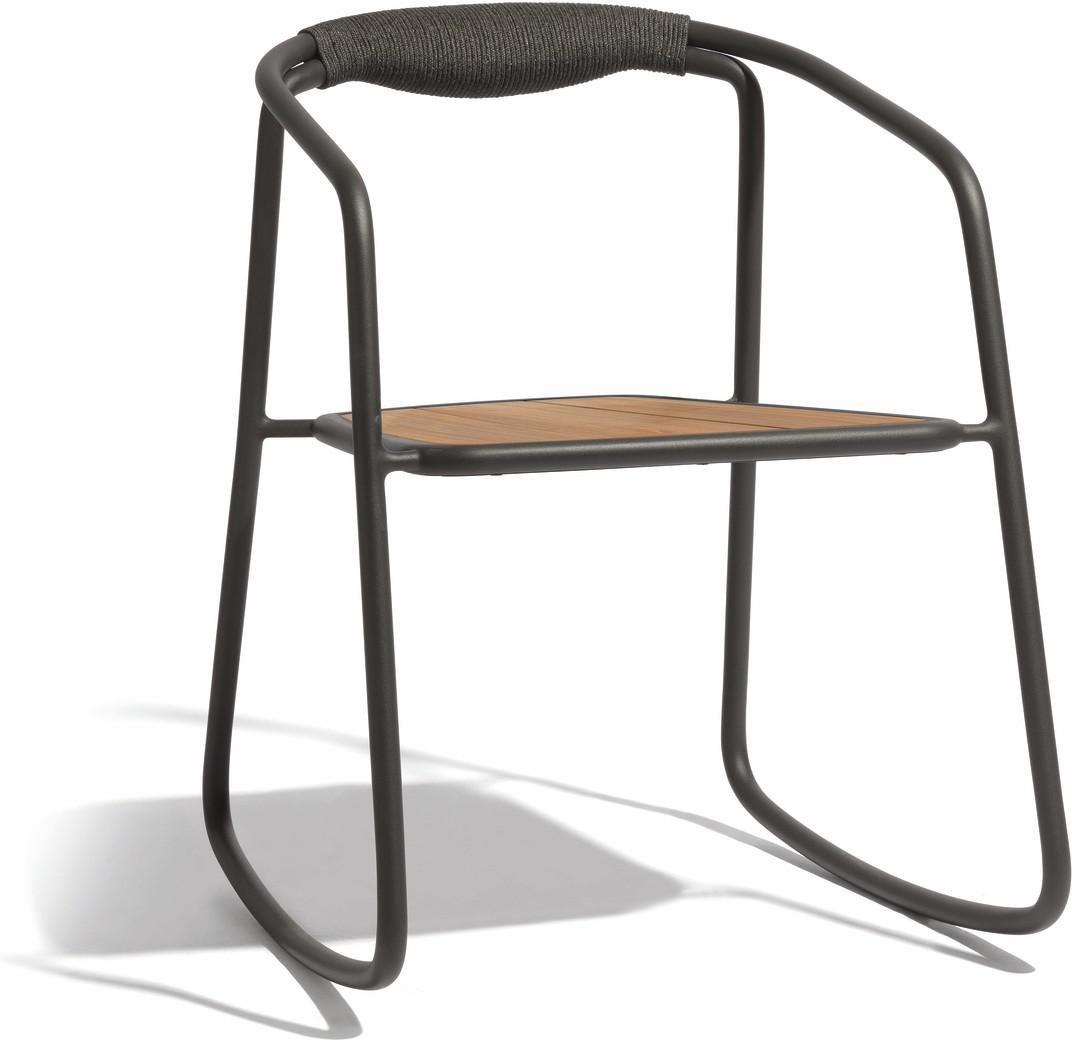 Chaise à bascule Duo - lave - corde 4,5mm anthracite et teck