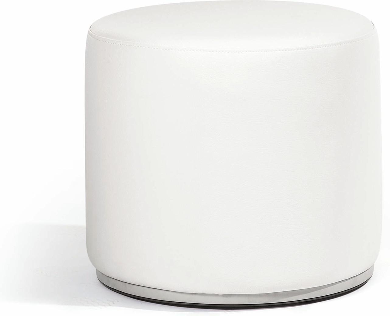 Moon Island footstool/sidetable 52 nautic leather white
