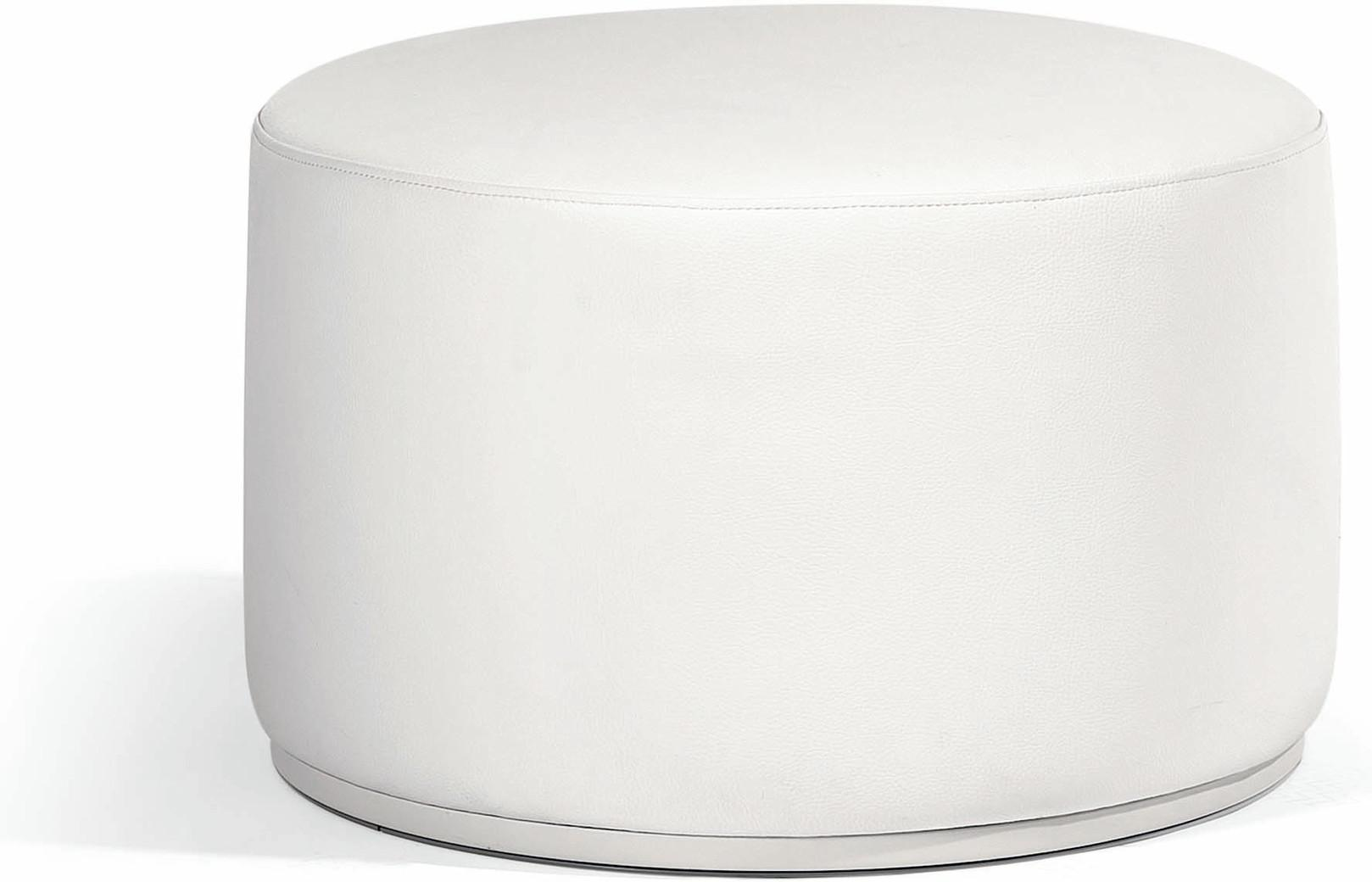 Moon Island footstool/sidetable 63 nautic leather white