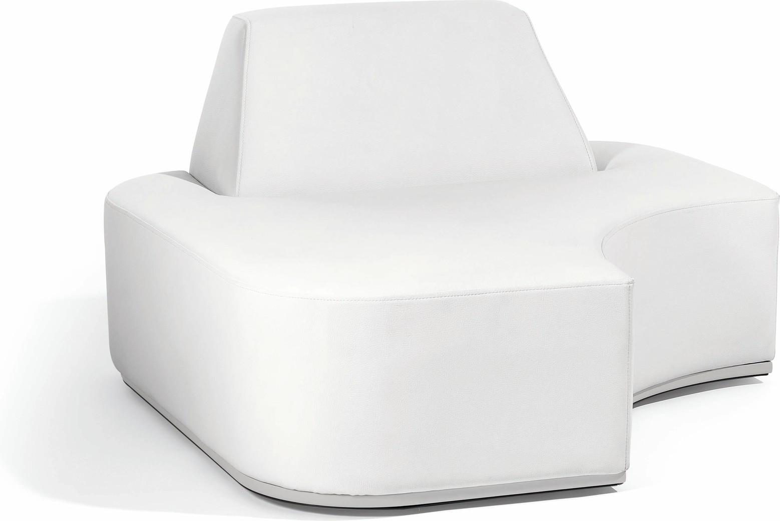 Moon Island right corner seat nautic leather white