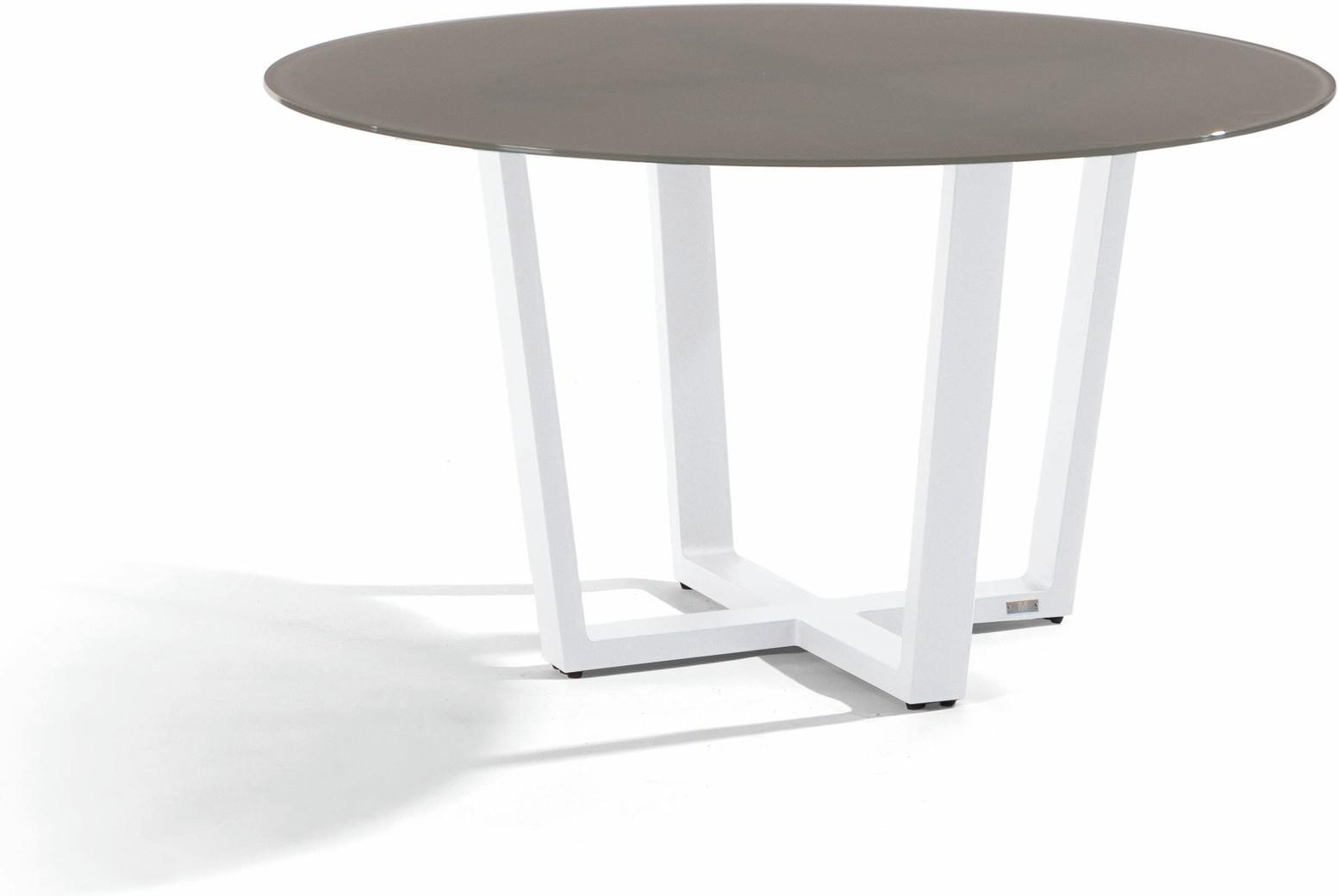 Fuse Dining table - white - glass taupe 130