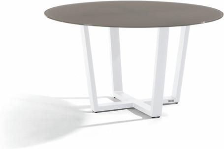 Dining table - white - glass taupe 130