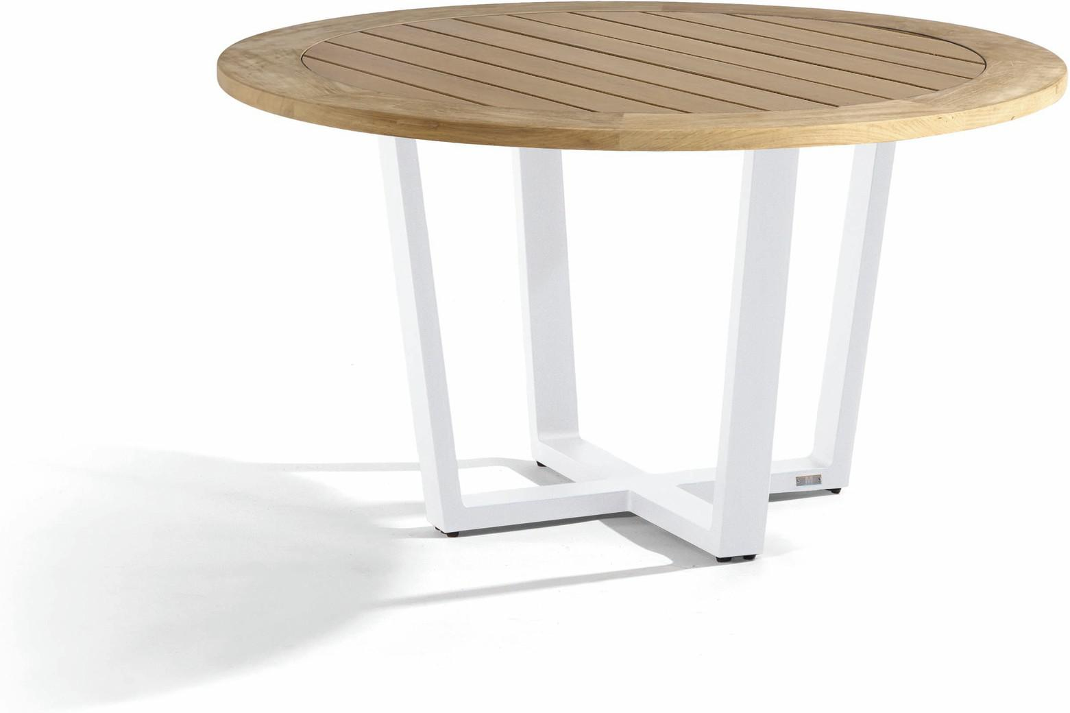 Fuse Dining table - white - Teak 130