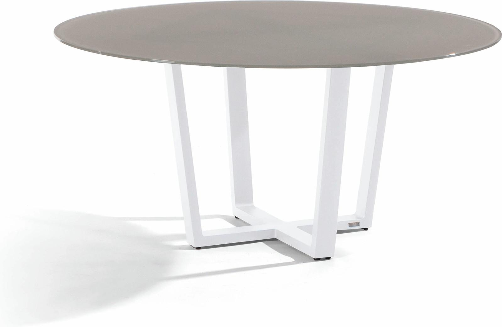 Fuse Dining table - white - glass taupe 155