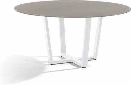 Dining table - white - glass taupe 155