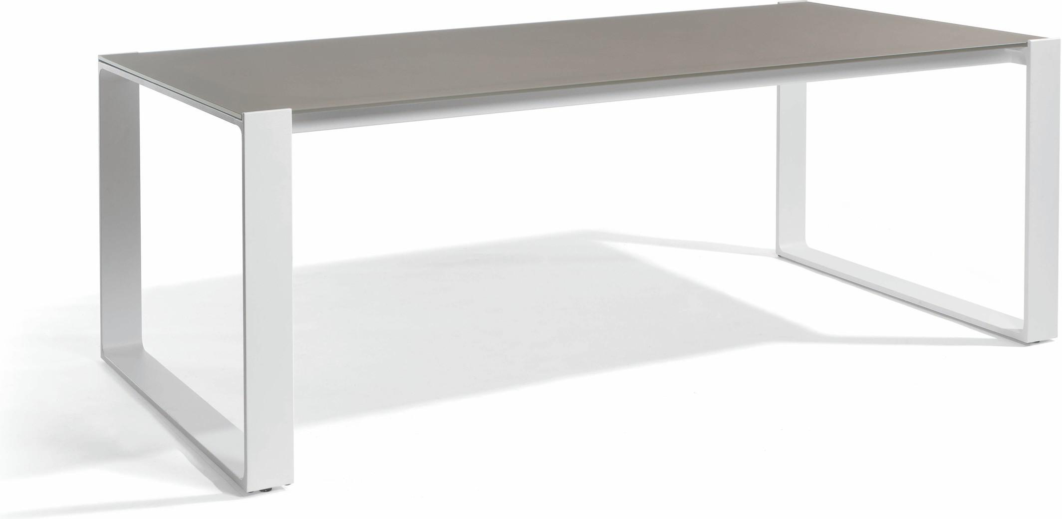 Table à manger Prato - blanc - verre taupe 215