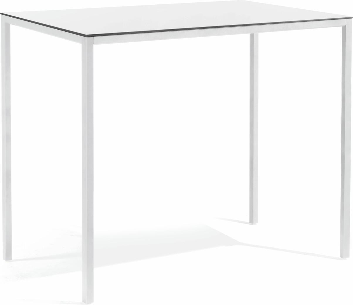 Table à manger haute Quarto - blanc - verre blanc 130