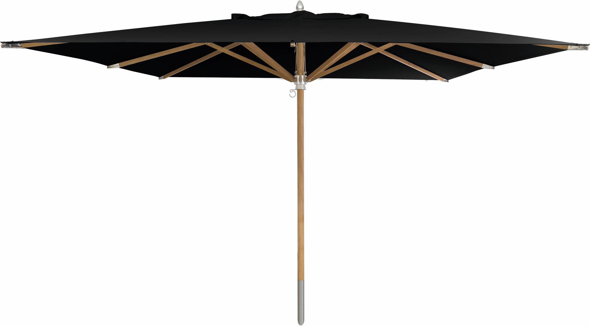 Sonnenschirm mit Mittelstock - Teak - 350 x 350 schwarz