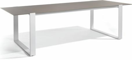 Dining table - white - glass taupe 270