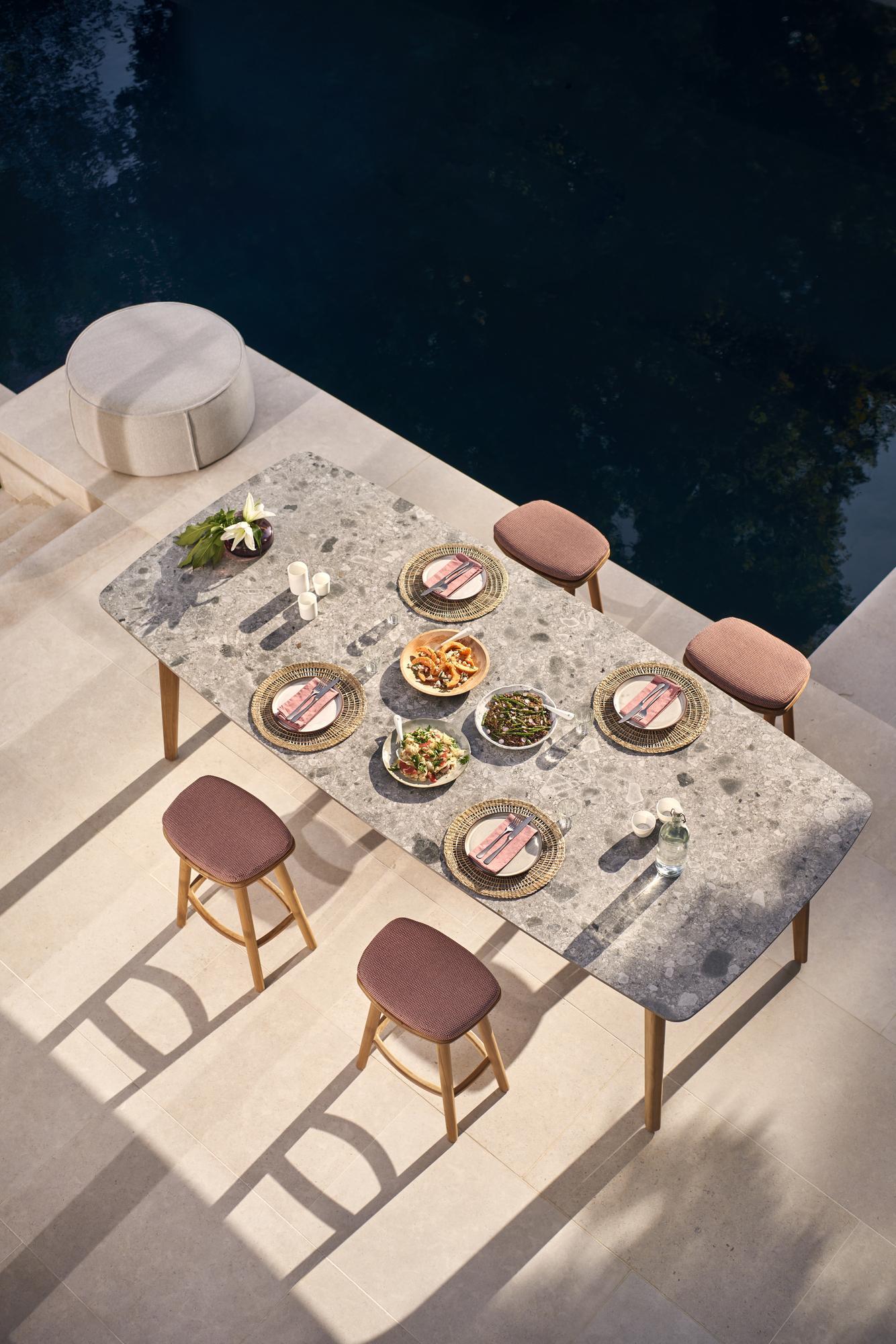 Outdoor High dining table Torsa - Teak - Ceramic - 3p ...
