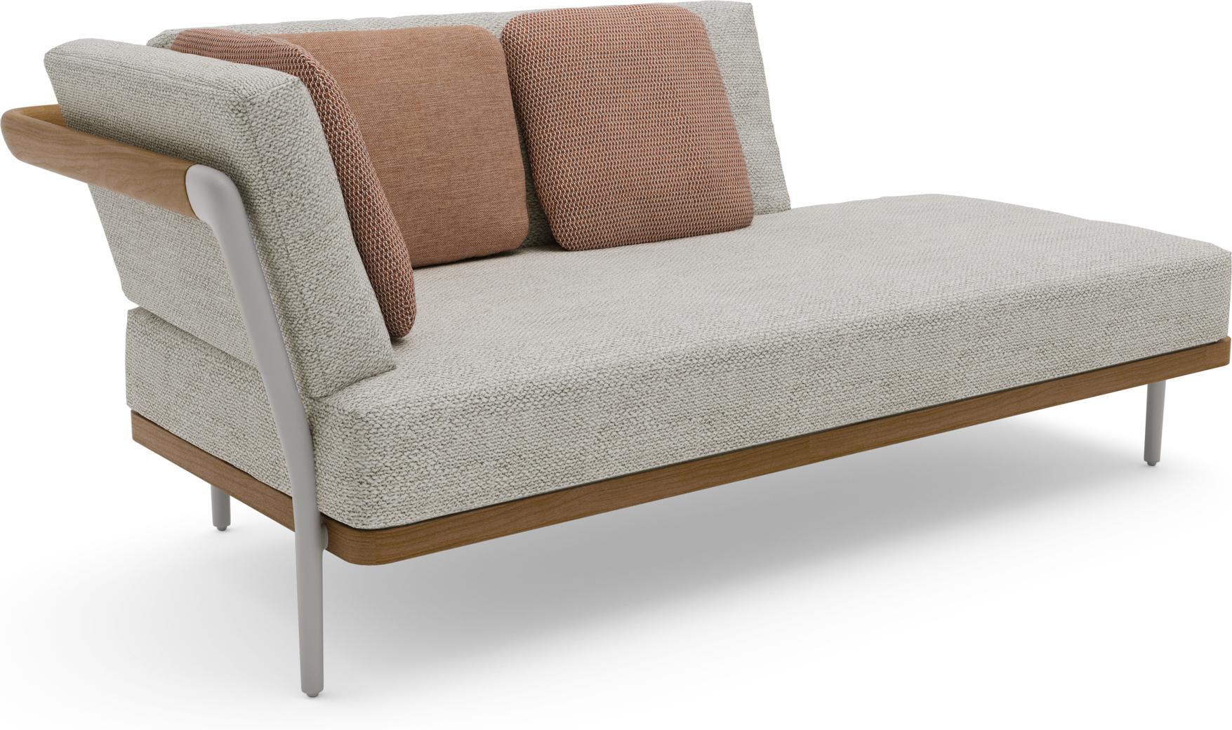 Flex Right corner double end seat - flint - teak