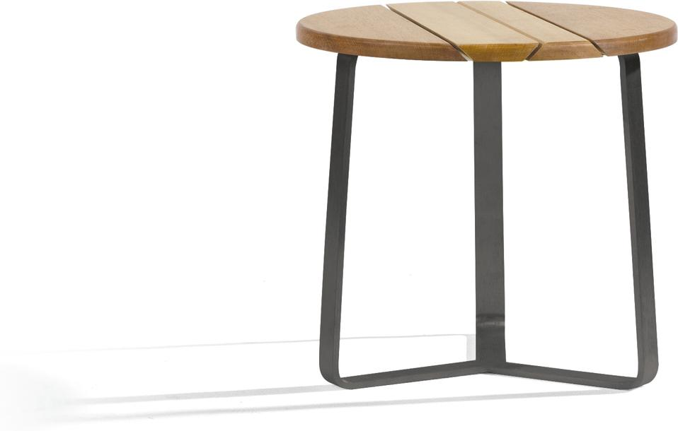 Outdoor side tables round - lava - Iroko 42