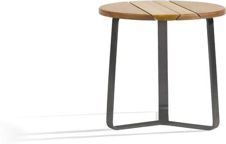 Table d'appoint d'extérieur ronde - lave - iroko 42